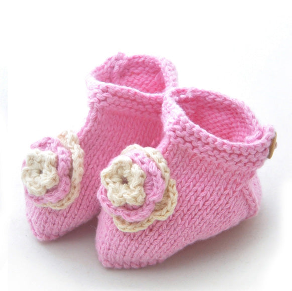 Booties: style 4 in Pink with flowers - Chizipoms