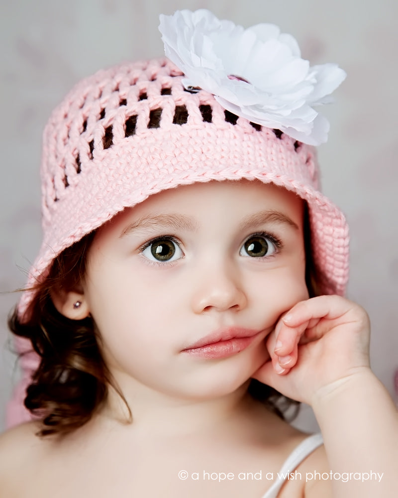 Pink and White Perfection Hand Crocheted Hat - Chizipoms