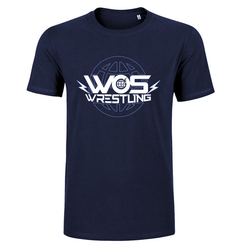 Kids Navy World Of Sport Wrestling Logo T-Shirt