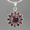 Garnet 4 ct Faceted Round Sterling Silver Pendant