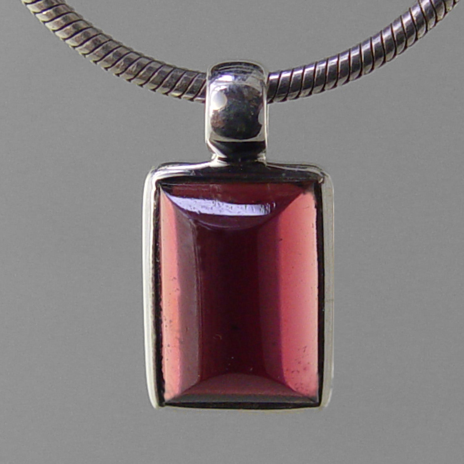 Garnet 8.1 ct Barrel Cut Cabochon Sterling Silver Pendant