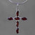 Garnet 3 ctw Garnet Cross in Sterling Silver Pendant