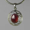 Rhodolite Garnet 5 ct Faceted Oval Sterling Silver Pendant