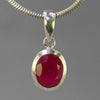 Ruby 2.5 ct Oval Sterling Silver Pendant