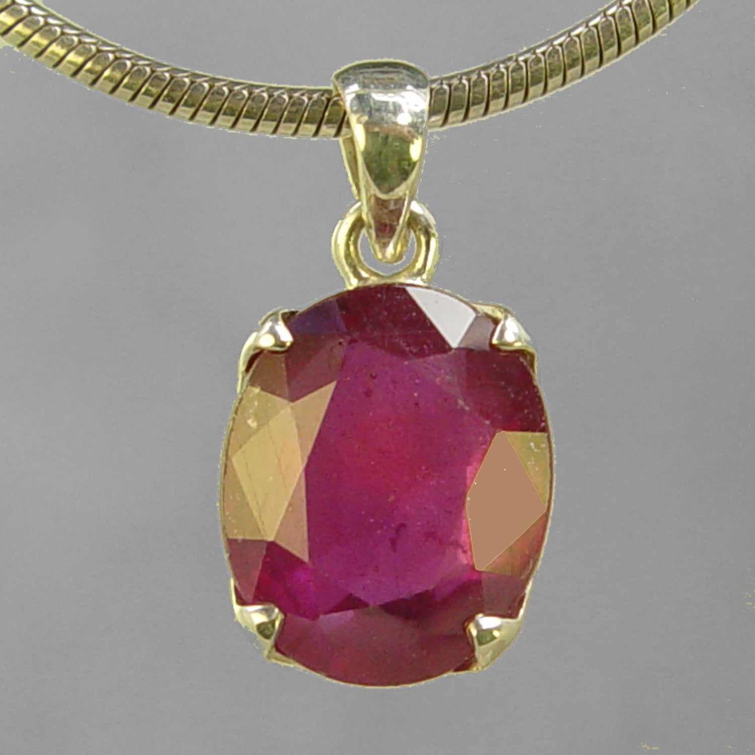 Ruby 11.5 ct Oval Prong Set Sterling Silver Pendant
