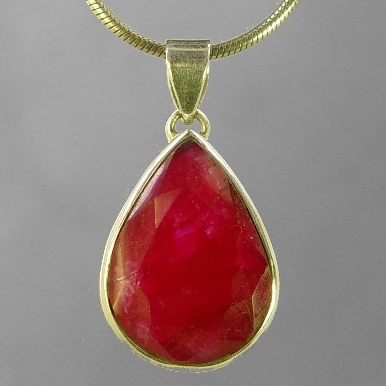 Ruby 19 ct Pear Sterling Silver Bezel Pendant