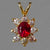 Ruby .40 ct Faceted Oval with 8 White Sapphires 14KY Gold Pendant