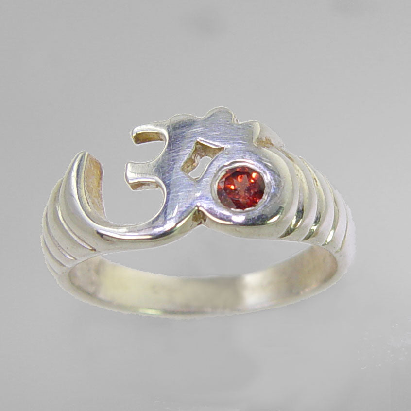 Sun Aum Ring with Small Faceted Red Garnet in Sterling Silver, Size 7.5
