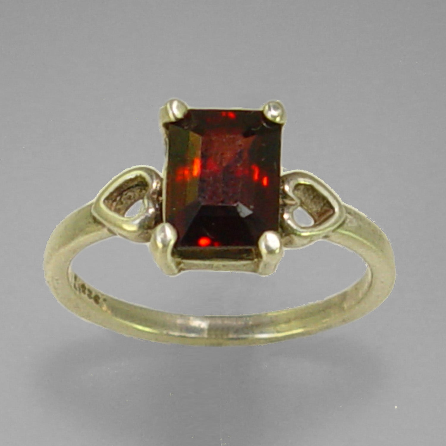 Garnet 2.7 ct Faceted Emerald Cut Sterling Silver Ring, Size 7