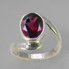 Garnet 3.2 ct Oval Sterling Silver Ring, Size 6.25