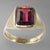 Garnet 3.7 ct Faceted Emerald Cut 14KY Gold Ring, Size 9.5