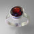 Garnet 3.96 ct Faceted Round Sterling Silver Ring, Size 7