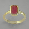 Ruby 2.8 ct Faceted Emerald Cut Sterling Silver Ring, Size 9