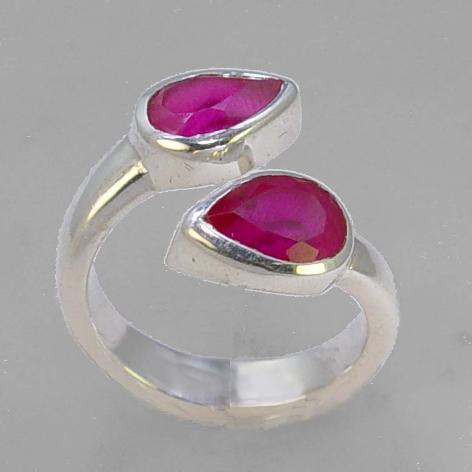 Ruby 3 ctw Faceted Pear Cut Sterling Silver Ring, Size 7, Adjustable