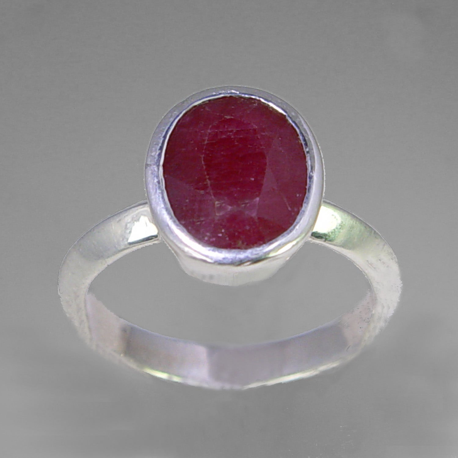 Ruby 4.4 ct Oval Sterling Silver Ring, Size 8