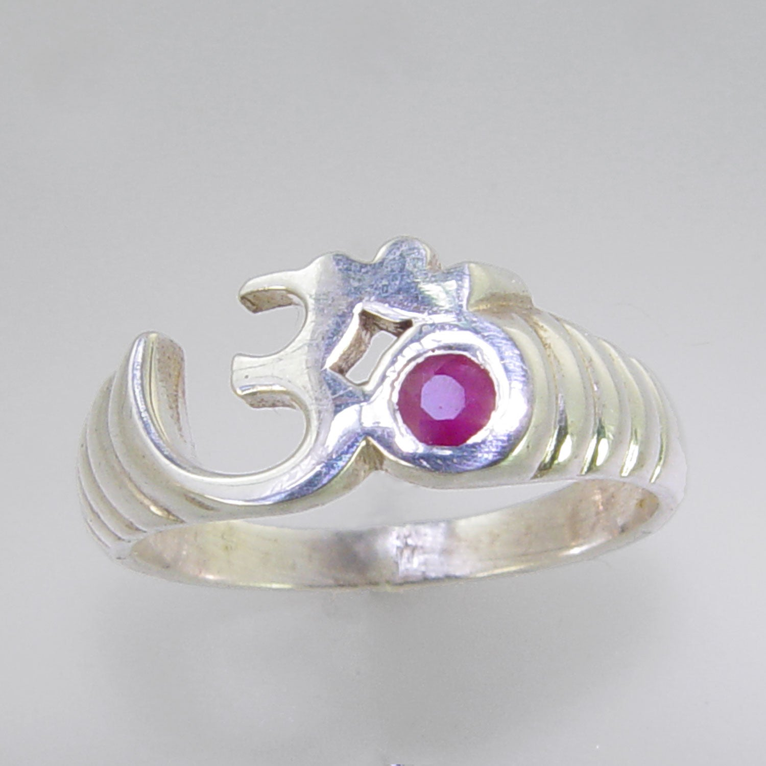 Sun Aum Ring with Small Faceted Ruby Sterling Silver Ring, Size 8
