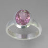Rubellite Tourmaline 2.7 ct Faceted Oval Sterling Silver Ring, Size 8