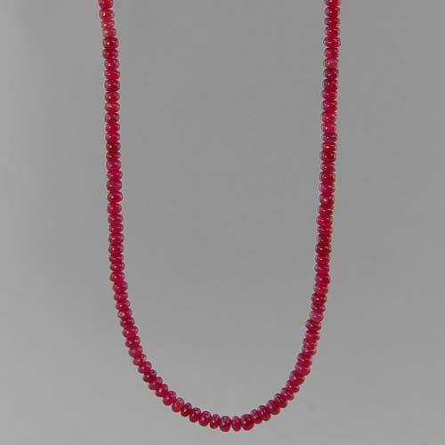 "Ruby Small Rondelle Graduated 18"" Necklace, 50 ct"