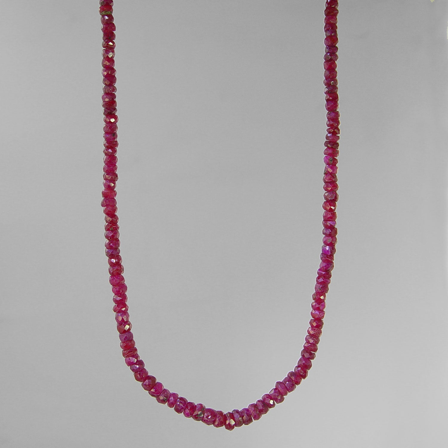 "Ruby Small Faceted Rondelle Graduated 17"" Necklace, 35 ct"
