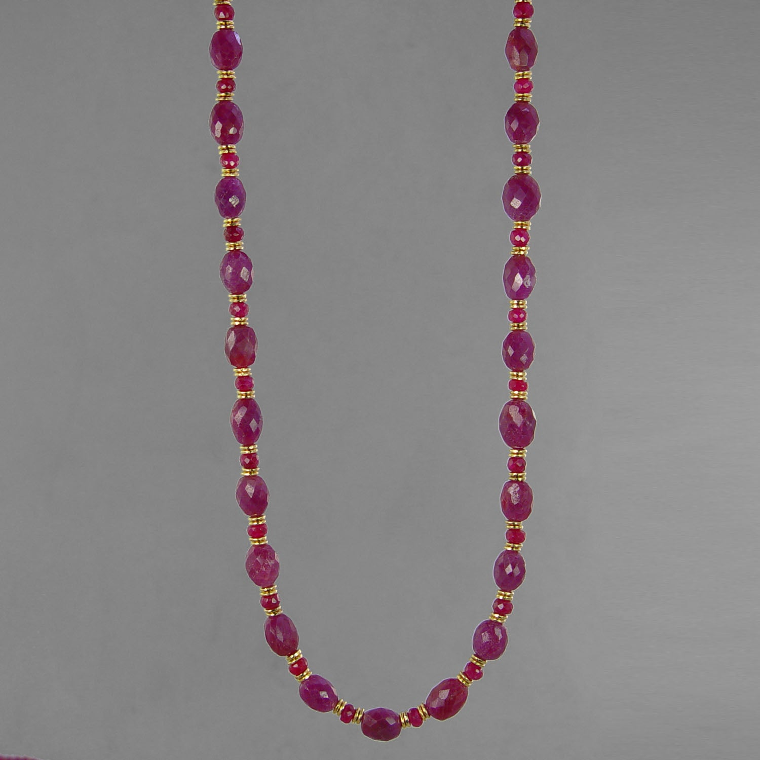 "Ruby Faceted Oval and Rondelle 16"", 18"", or 20"" Necklace, 75-100 ct"