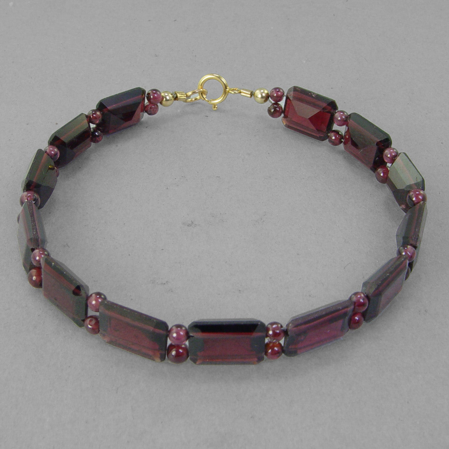 Garnet Faceted Emerald Cut Bracelet, 7.25 or 8""