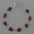 "Garnet Antique Emerald Cabs on Sterling Silver Chain 7.25"" - 8.25"" Bracelet"