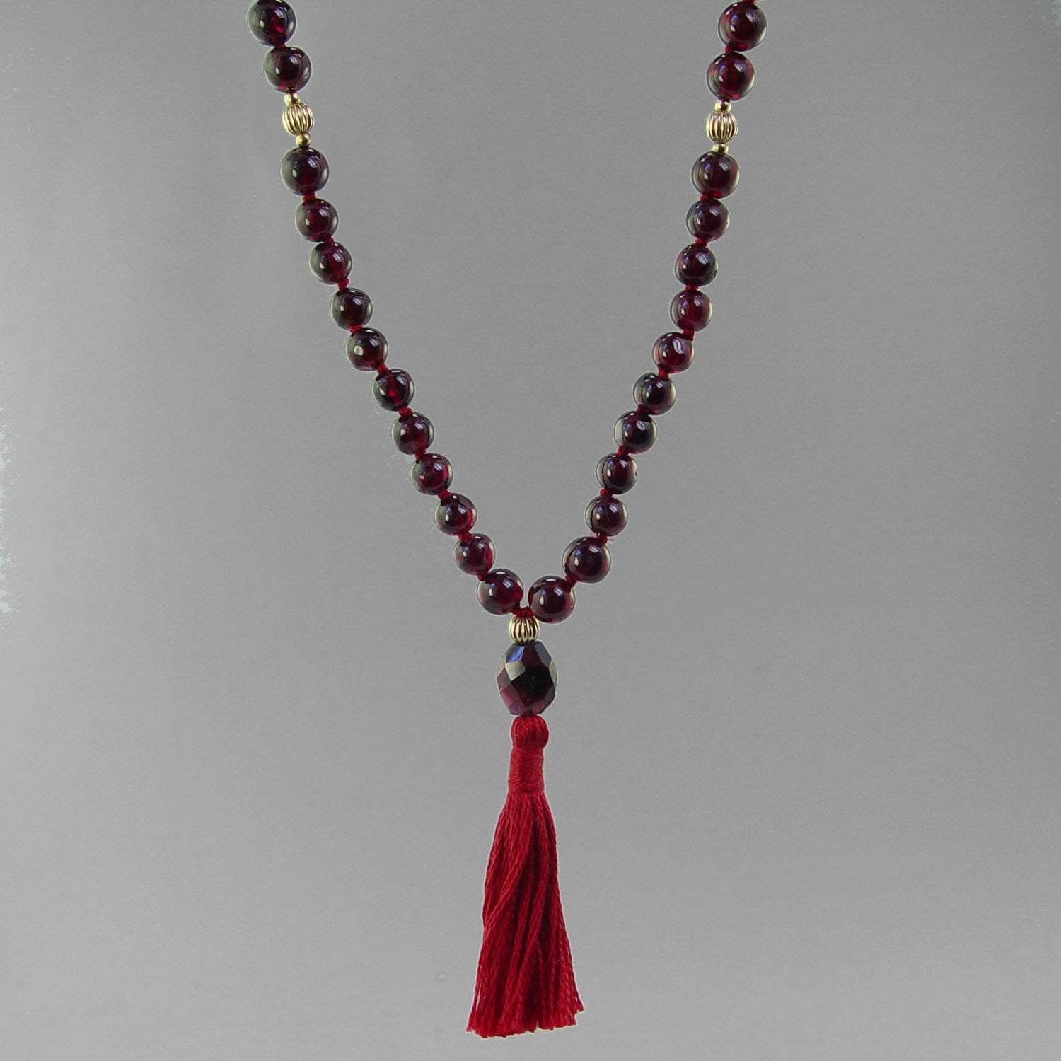 Sun Mala - Garnet with Gold Filled Accents
