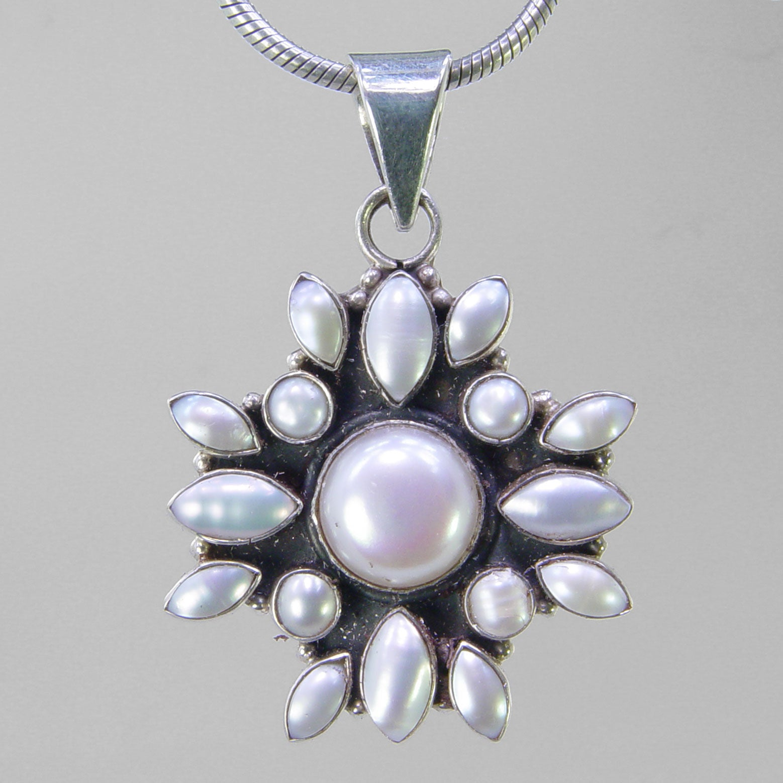 Pearl 6 ct Bezel Set With 16 Small Pearls Sterling Silver Pendant