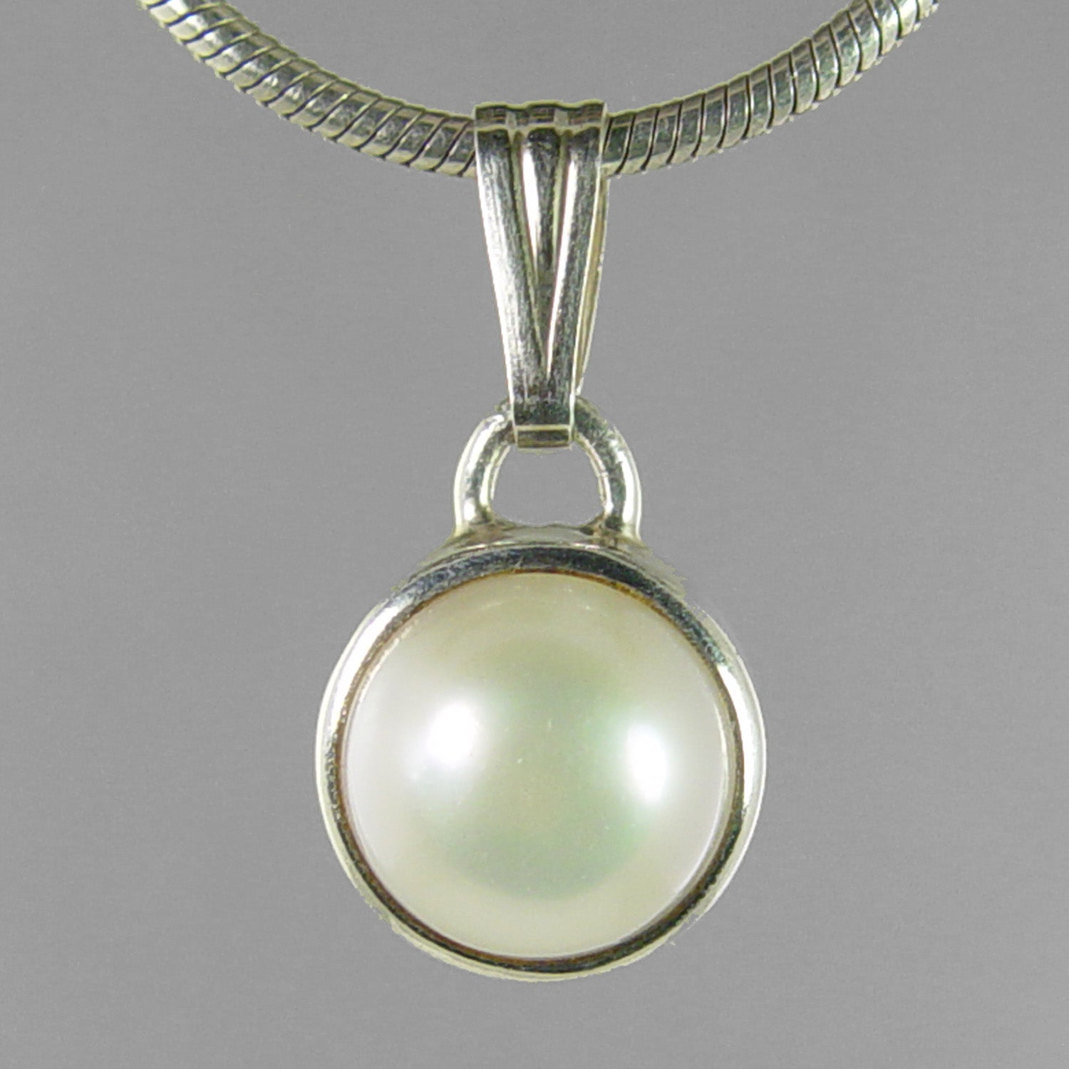 Pearl 8 ct Freshwater Pearl Bezel Set Sterling Silver Pendant