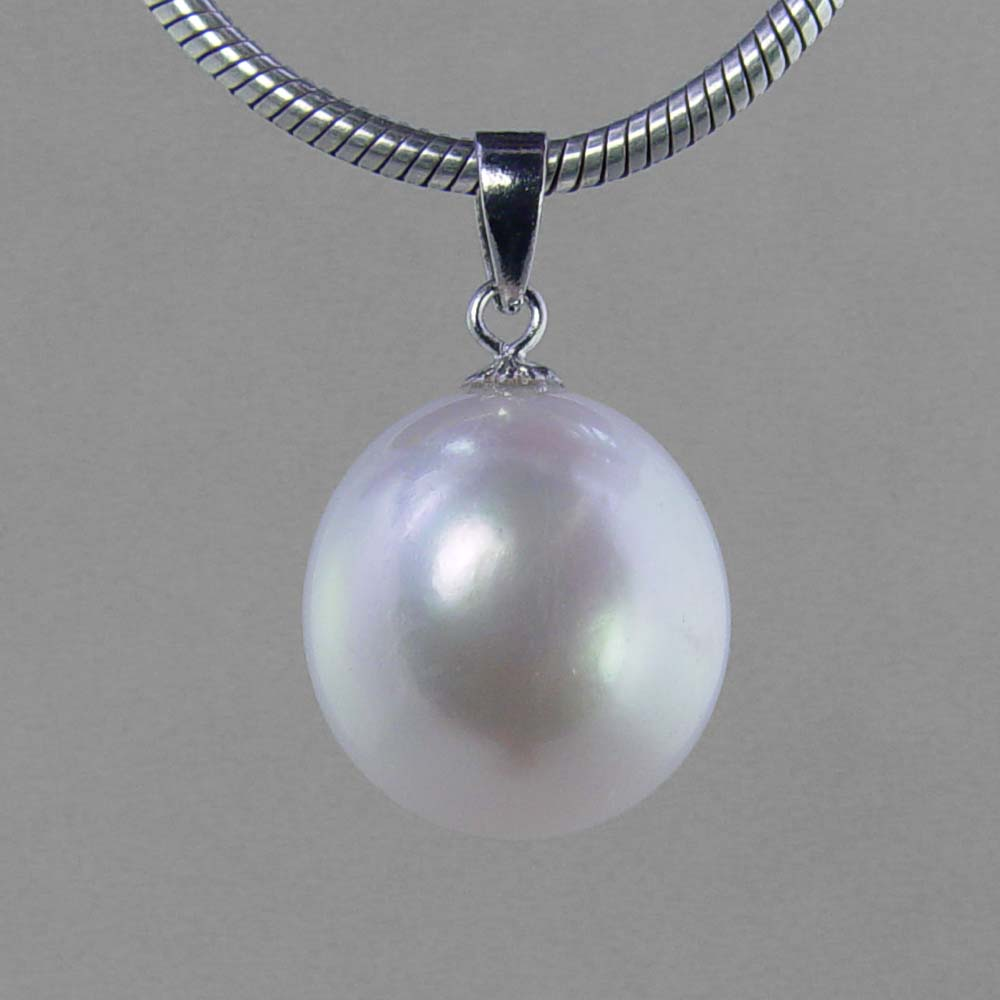 Pearl 15 ct 14 mm Coin Pearl Sterling Silver Pendant