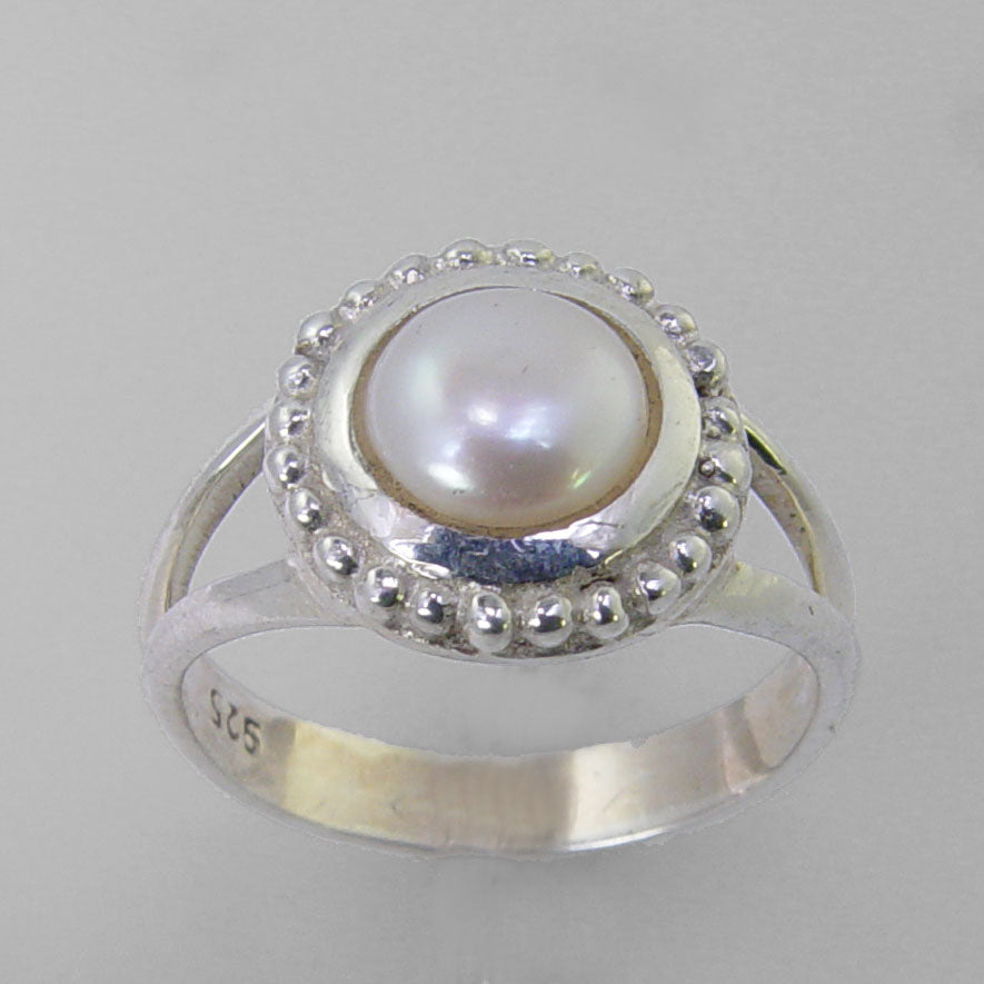 Pearl 2 ct Freshwater Pearl Fancy Bezel Set Sterling Silver Ring, Size 7