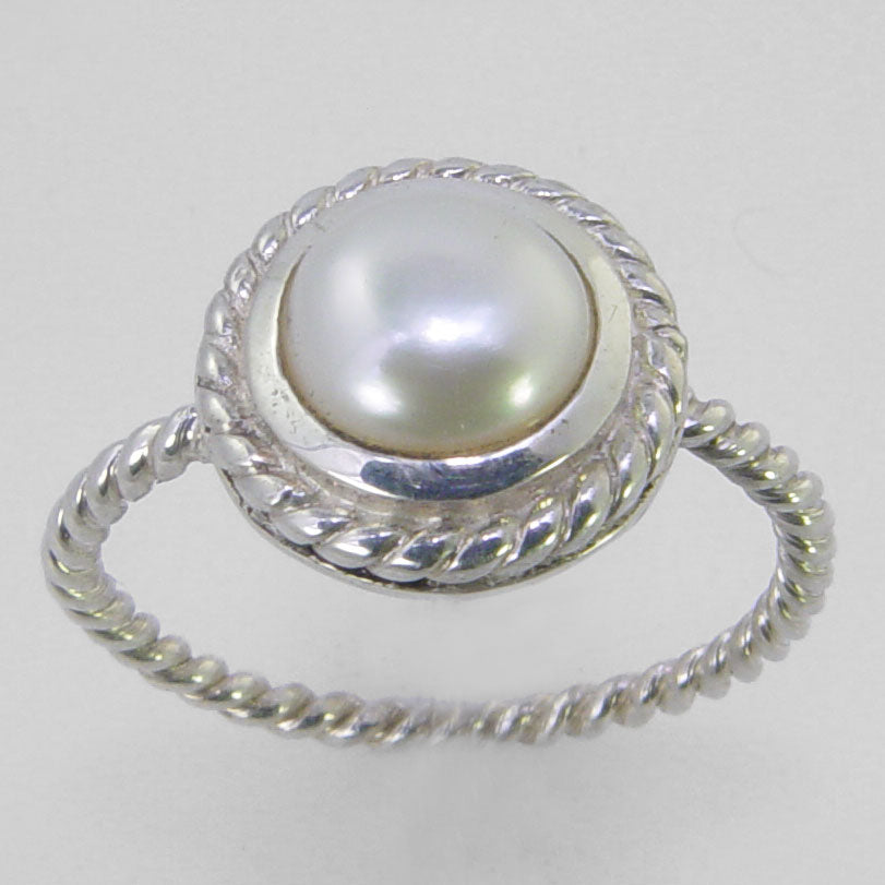 Pearl 2 ct Freshwater Pearl Bezel Set Sterling Silver Twist Band Ring, Size 8