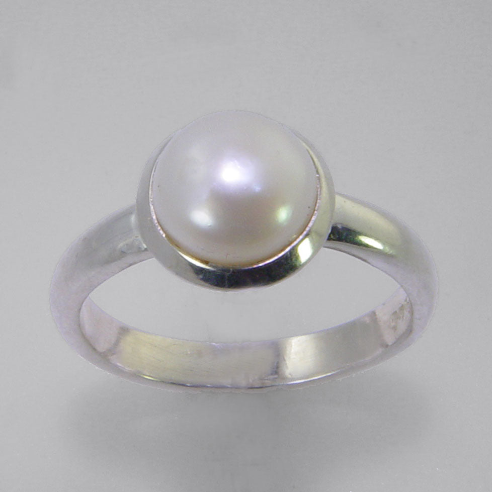 Pearl 2.5 ct Freshwater Pearl Rim Edge Bezel Set Sterling Silver Ring, Size 9