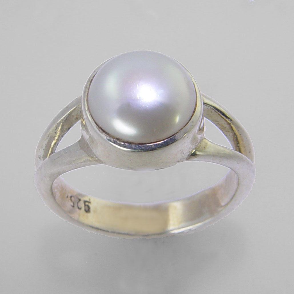 Pearl 3.75 ct Freshwater Pearl Bezel Set Sterling Silver Split Shank Band Ring, Size 6