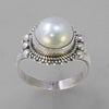 Pearl 5 ct Freshwater Pearl Fancy Bezel Set Sterling Silver Ring, Size 8.5