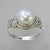Pearl 4.5 ct Freshwater Pearl Fancy Bezel Set Sterling Silver Ring, Size 8.5