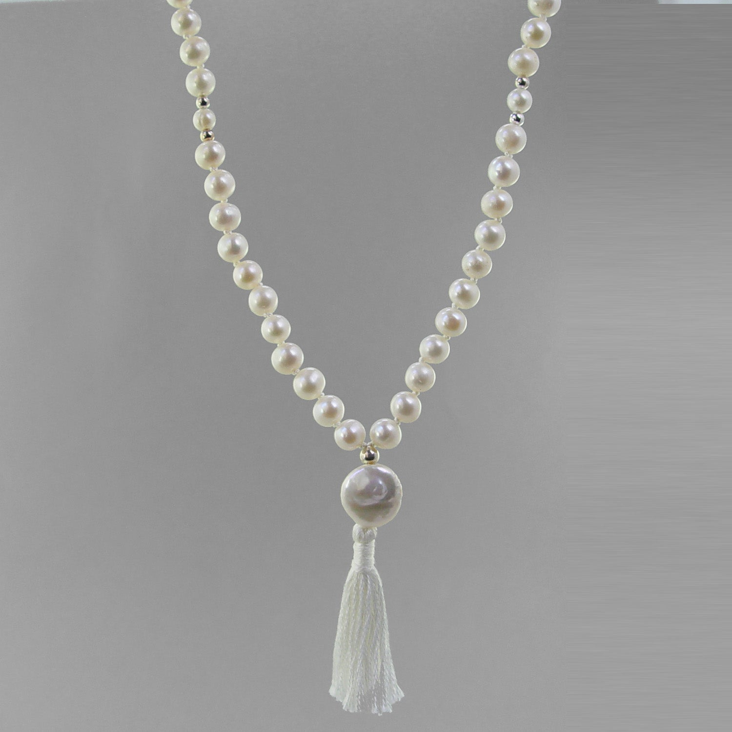 Moon Mala - White Pearl With Pearl Counter Beads