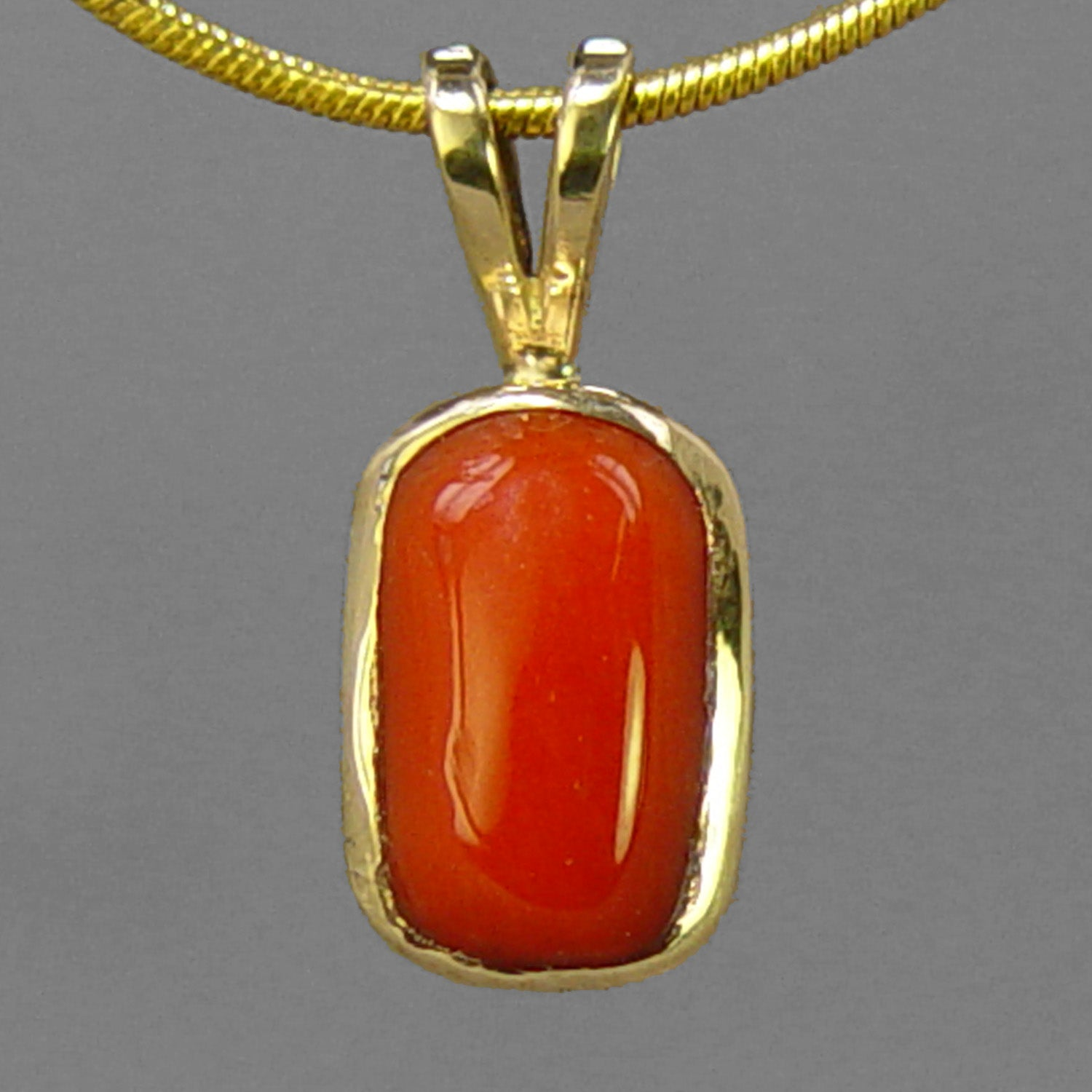 Red Coral 5.03 ct Cab Bezel Set 14KY Gold Pendant