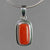 Red Coral 6.0 ct Cab Bezel Set Sterling Silver Pendant