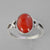 Red Coral 3.0 ct Cab Bezel Set V Shank Sterling Silver Ring, Size 9