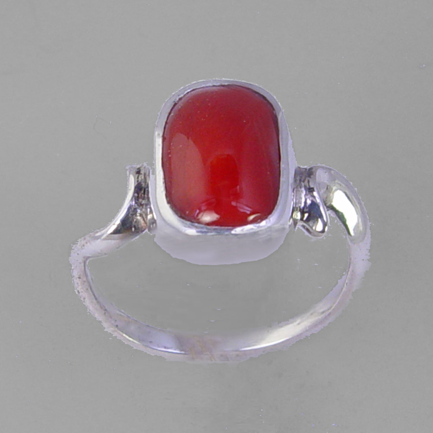 Red Coral 4.7 ct Cab Bezel Set Sterling Silver Ring, Size 6