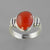 Red Coral 5.0 ct Cab Bezel Set Sterling Silver Ring, Size 7.5
