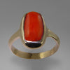 Red Coral 5.89 ct Cab Bezel Set 14KY Gold Ring, Size 8