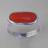 Red Coral 6.0 ct Cab Bezel Set Sterling Silver Ring, Size 11