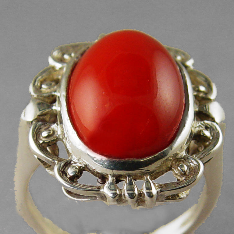 Red Coral 9.91 ct Cab Bezel Set Filigree Style Sterling Silver Ring, Size 6.25