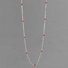 "Red Coral Round Bead on Sterling Silver Chain 18"" Necklace"