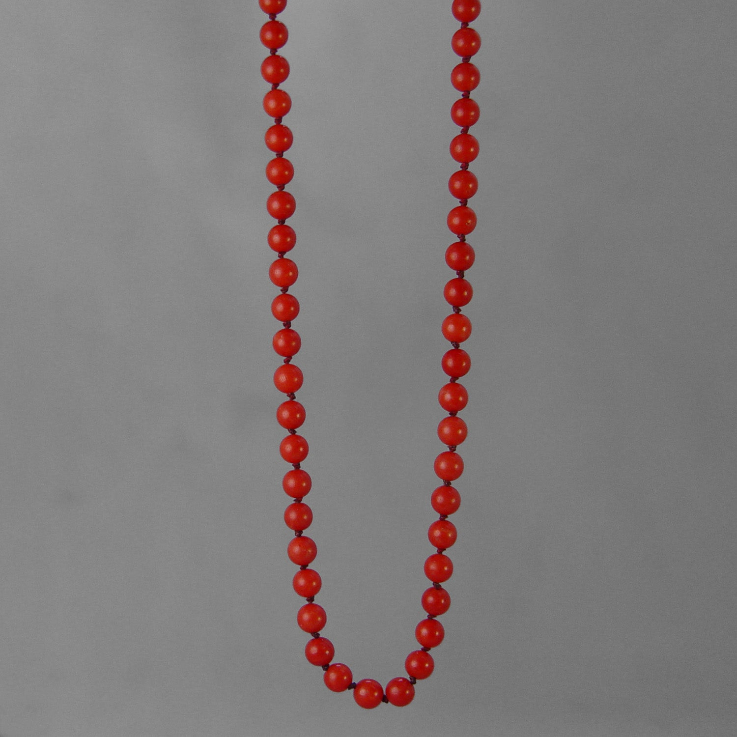 "Red Coral Round Bead AA 20"" Necklace, 55 ct"