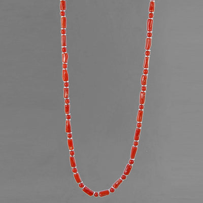 "Red Coral Branch and Bead 18"" Necklace, 25 ct"