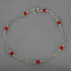 "Red Coral Round Beads on Chain 7.25"" or 8"" Bracelet"
