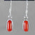 Red Coral Cab Bezel Set Sterling Silver Earrings